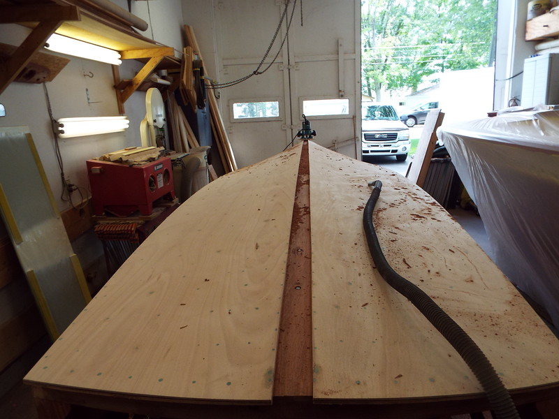 Rear view of the keel cap being routed.