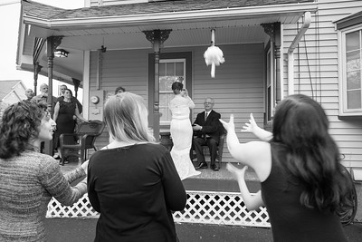 Bouquet Toss- Sandy William Sessler Wedding Vow Renewal- Kimberly Hatch Photography New England Photographer 70th Birthday Party Private Event Portrait Candid Photojournalism Couple Bride Groom Anniversary Golden Silver Small Home Westfield Ma Massachuset