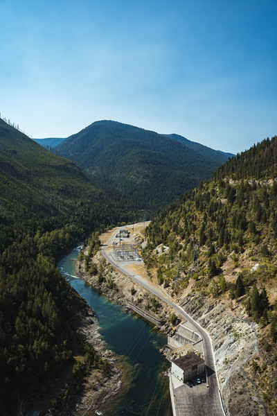 Down to Flathead River from the Top of Hungry Horse Dam in the Forested Mountains of Montana