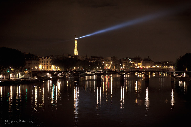 The Pont des Arts and the Eiffel Tower at Midnight in Paris Taken from Pont Neuf - JohnBrody.com / John Brody Photography