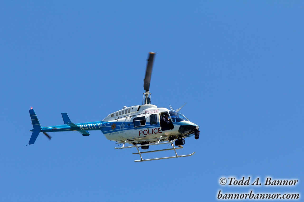 Chicago Police Helicopter One, a Bell 206B.