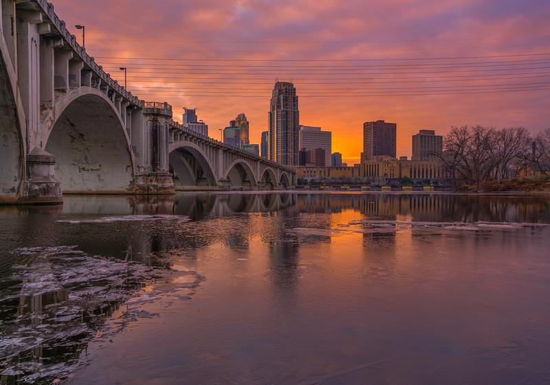 Icy Minneapolis Sunset