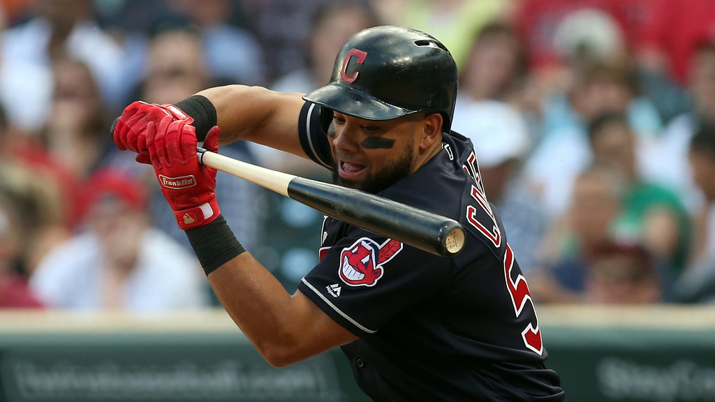. Cleveland Indians\' Melky Cabrera bats against the Minnesota Twins in the first inning of a baseball game Thursday, May 31, 2018, in Minneapolis. (AP Photo/Jim Mone)