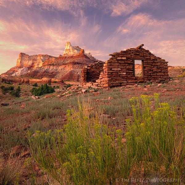 Miner's cabin at sunset - Temple Mountain, Utah.