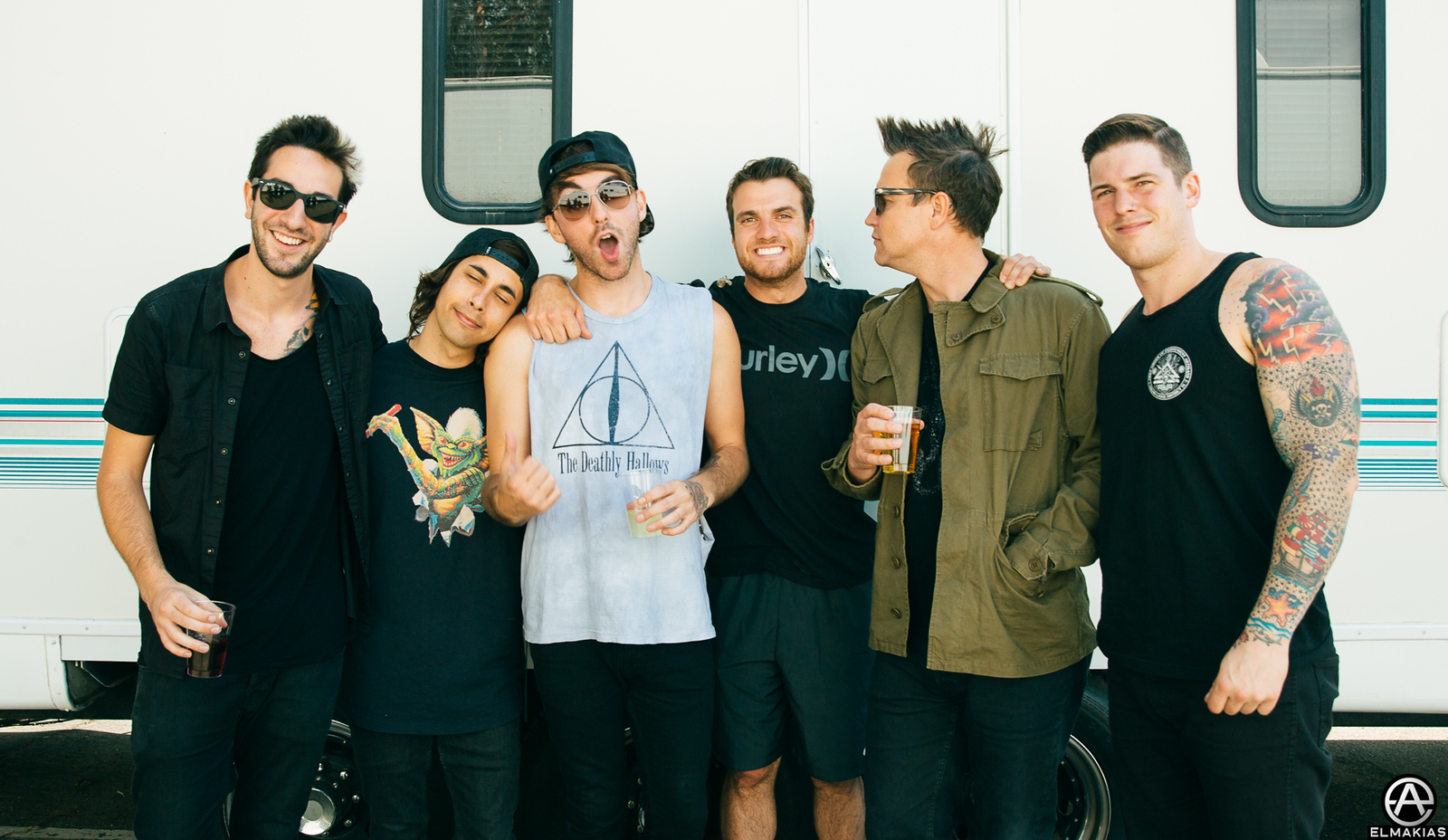 All Time Low, Vic Fuentes, and Mark Hoppus backstage at the Weenie Roast 2015 by Adam Elmakias