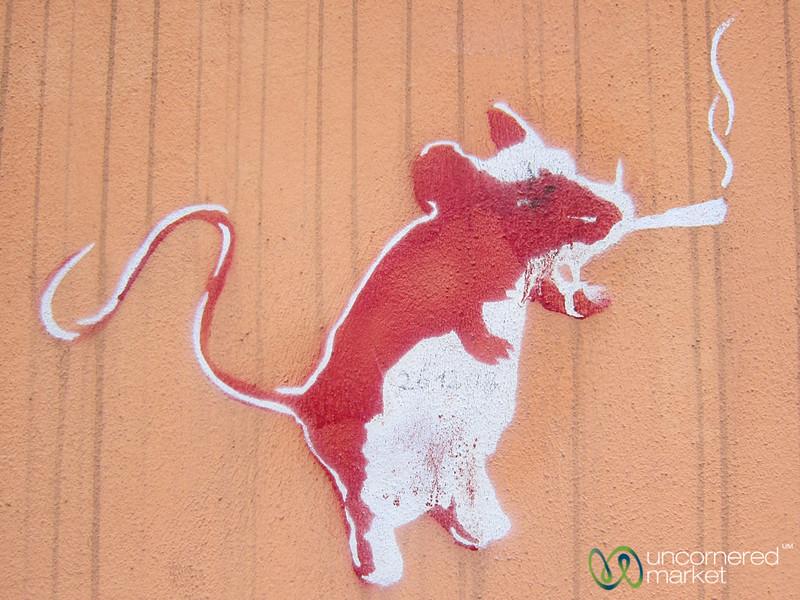 Smoking Rat - Street Art in Szczecin, Poland
