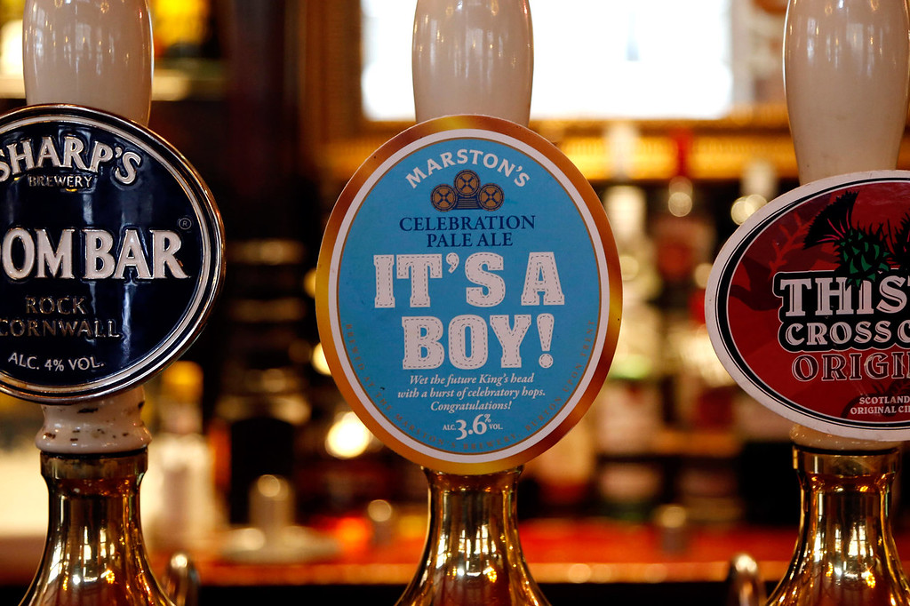 . A celebratory ale is sold in pub to mark the birth of the first born son of the Duke and Duchess of Cambridge on July 23, 2013 in London, England. Catherine, Duchess of Cambridge yesterday gave birth to a boy at 16.24 BST and weighing 8lb 6oz, with Prince William, Duke of Cambridge at her side. The baby, as yet unnamed, is third in line to the throne and becomes the Prince of Cambridge.  (Photo by Warrick Page/ Getty Images)
