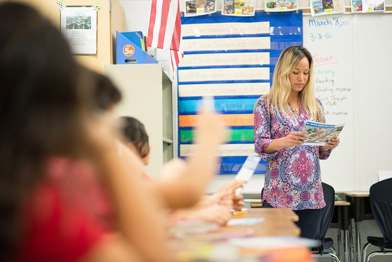 Debra Manfredi student from TAMU-CC, speaks to students at Zavala Elementary on Entreprenuership.