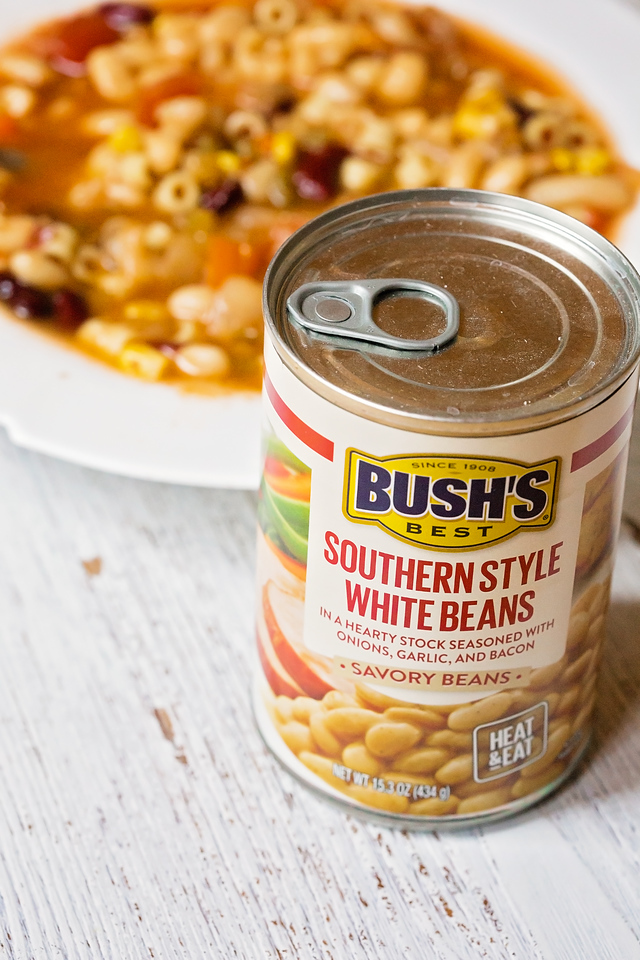 This bacon minestrone recipe uses two kinds of #BushsSavoryBeans and is so delicious and easy to make. Here's all the info you need for the #recipe! #ad #IC
