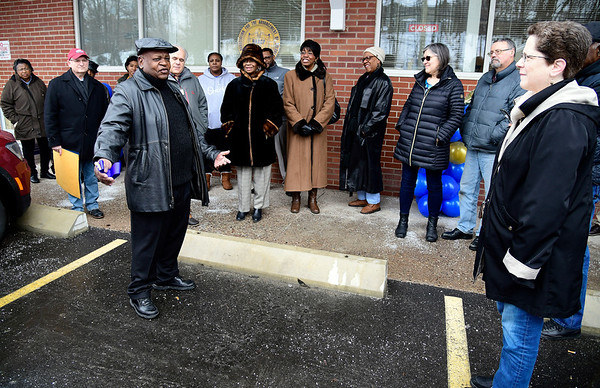 3/2/2019 Mike Orazzi | Staff The ribbon cutting for the NAACP's Bristol office on South Street Saturday morning, led by NAACP President Lexie Mangum.