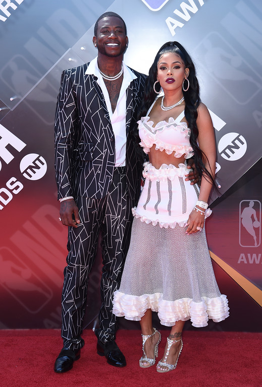 . Gucci Mane, left, and Keyshia Ka\'Oir arrive at the NBA Awards on Monday, June 25, 2018, at the Barker Hangar in Santa Monica, Calif. (Photo by Richard Shotwell/Invision/AP)