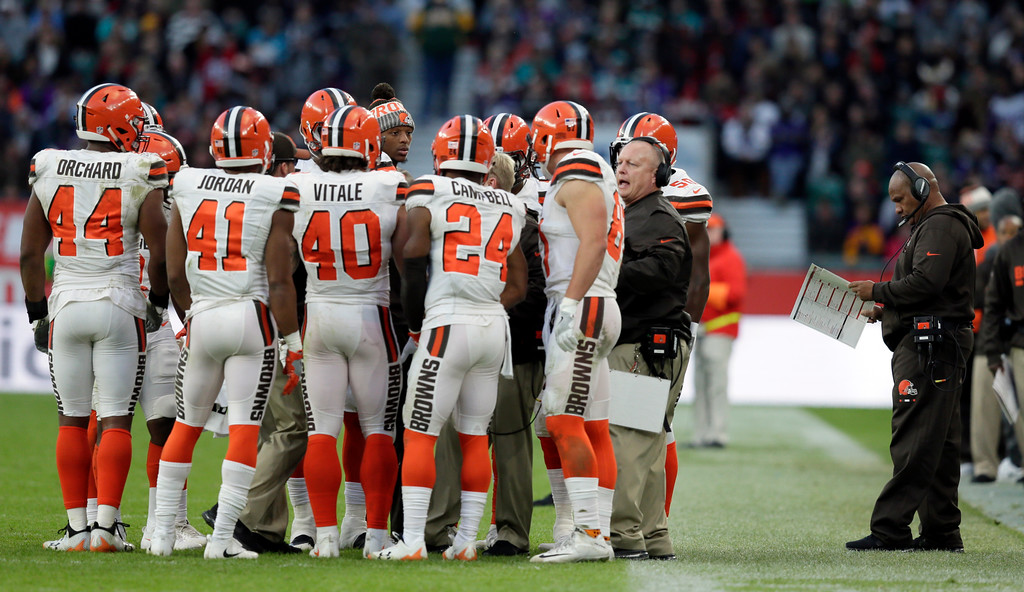 . Cleveland Browns players huddle as head coach Hue Jackson, right, looks at his play card during the second half of an NFL football game against Minnesota Vikings at Twickenham Stadium in London, Sunday Oct. 29, 2017. (AP Photo/Tim Ireland)