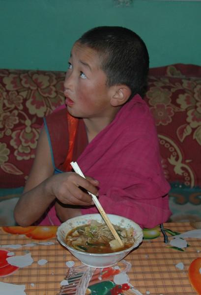 Monk Eating Morning Soup - Xiahe, China