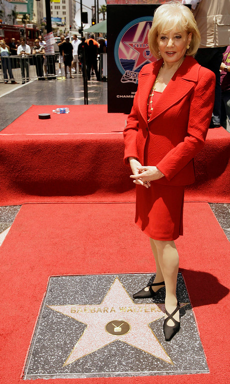 ". Television newswoman Barbara Walters poses after receiving a star on the Hollywood Walk of Fame Thursday, June 14, 2007, in Los Angeles. Walters is a nominee as both a host and producer of ""The View\'\' television talk show, as well as a presenter at the Daytime Emmy Awards in the Kodak Theatre in Los Angeles on June 15. (AP Photo/Damian Dovarganes)"