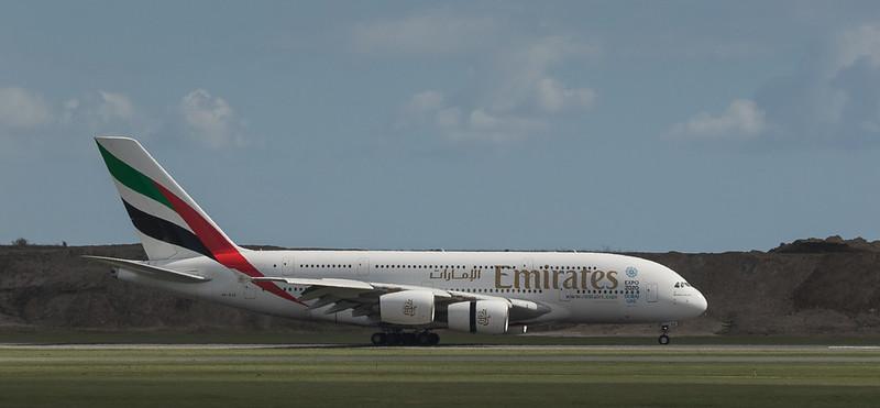 Emirates Airbus A380 A6-EOR in Kopenhagen/DK.
