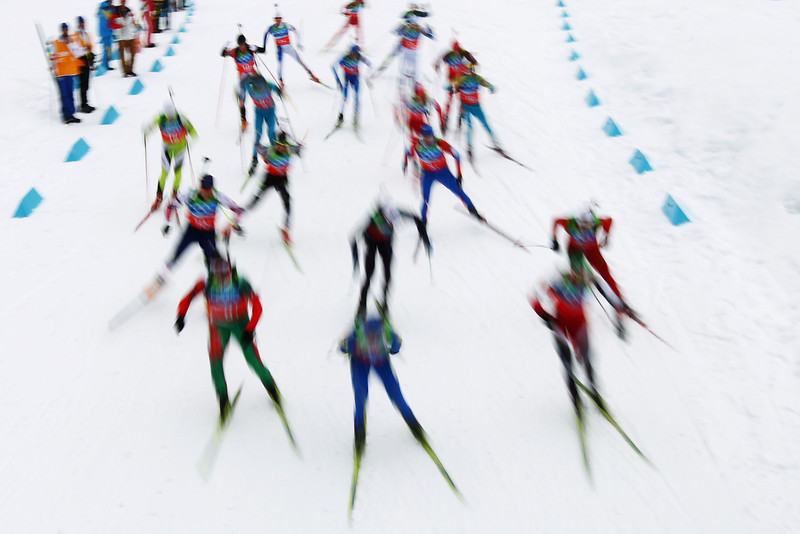. Skiers compete during the men\'s 4 x 7.5 km biathlon relay on day 15 of the 2010 Vancouver Winter Olympics at Whistler Olympic Park Cross-Country Stadium on February 26, 2010 in Whistler, Canada.  (Photo by Lars Baron/Bongarts/Getty Images)