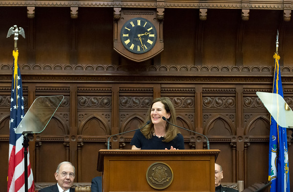 01/09/19 Wesley Bunnell | Staff Lt. Governor Susan Bysiewicz smiles during her speech to a joint session of the CT General Assembly.