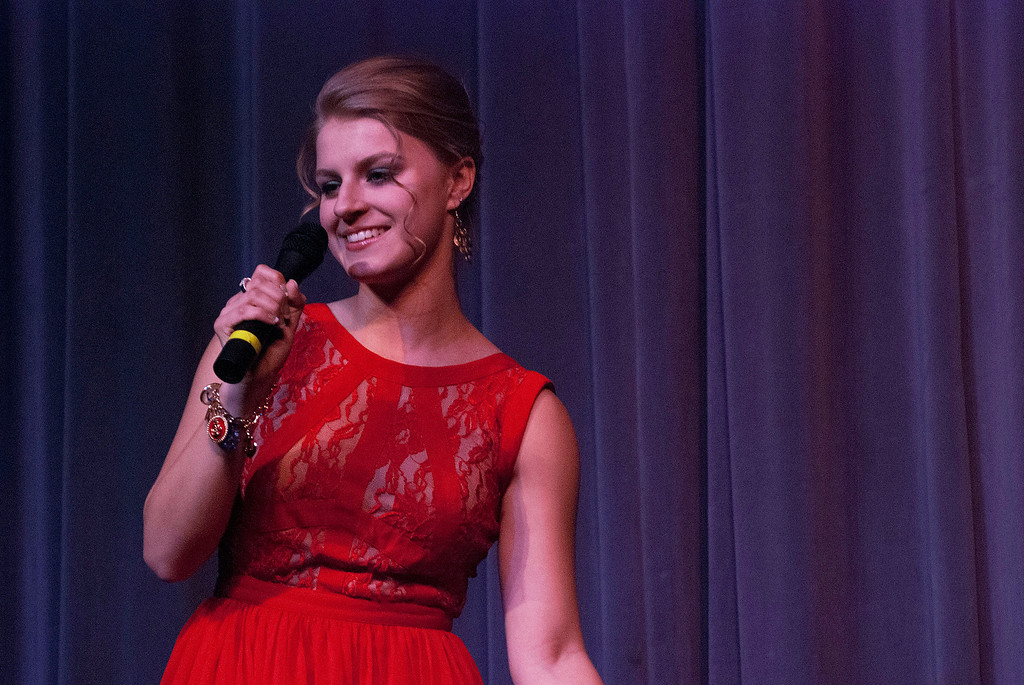 . Kayla Rice/Reformer Jenna Martin sings for the talent portion of the 2014 Brattleboro Winter Carnival\'s Queen\'s Pageant on Friday night.