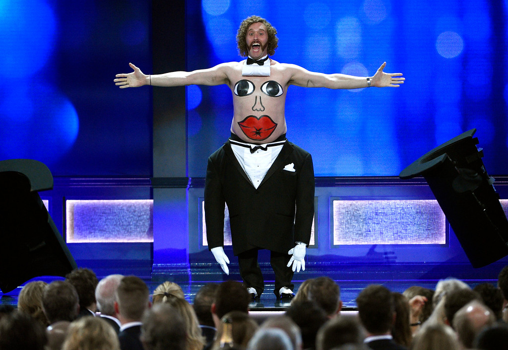 . Host T.J. Miller performs at the 22nd annual Critics\' Choice Awards at the Barker Hangar on Sunday, Dec. 11, 2016, in Santa Monica, Calif. (Photo by Chris Pizzello/Invision/AP)