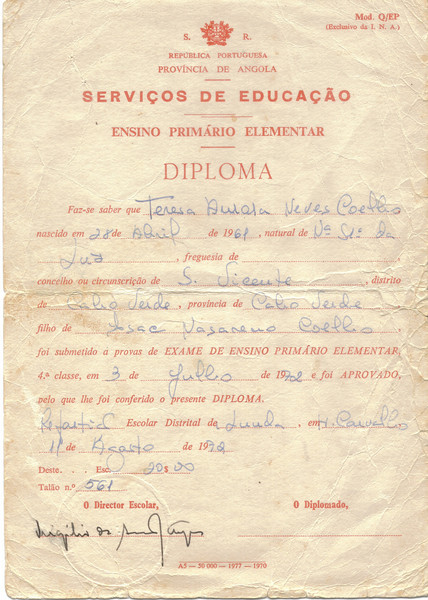 Diploma da 4* classe de Teresa Coelho