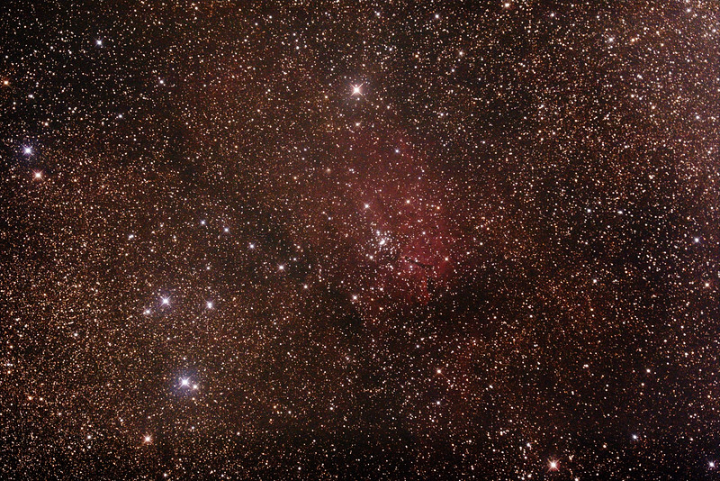 NGC6820 Nebula and NGC6823 Open Cluster in Vulpecula - 10/7/2015 (Processed stack)