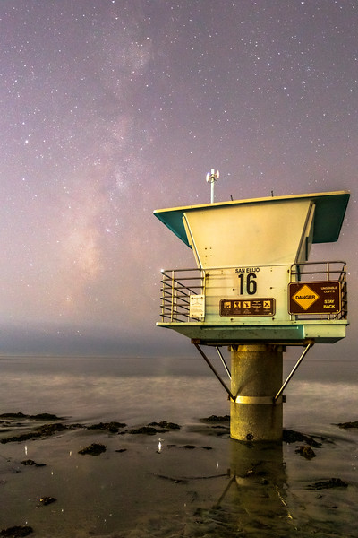Lifeguard Tower and the Milky Way at Cardiff State Beach in San Diego