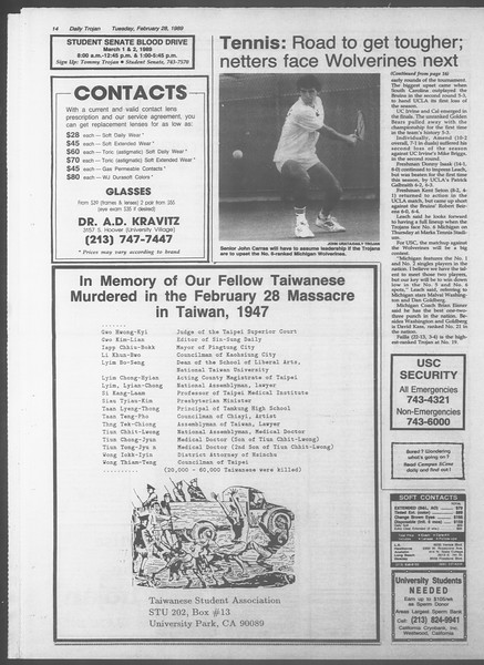 Daily Trojan, Vol. 108, No. 31, February 28, 1989