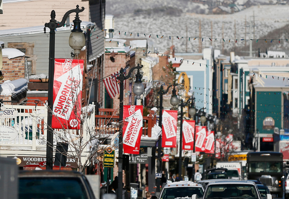 Description of . Banners hang above Main Street during the 2013 Sundance Film Festival on Thursday, Jan. 17, 2013 in Park City, Utah. (Photo by Danny Moloshok/Invision/AP)
