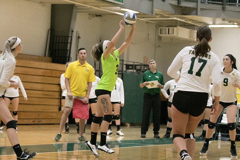Fitchburg State University played Bay Path College on Saturday, August 31, 2019. FSU's Chloe Guzman sets the ball. SENTINEL & ENTERPRISE/JOHN LOVE