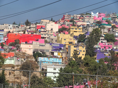Typical hillside homes on the outside of Mexico City.