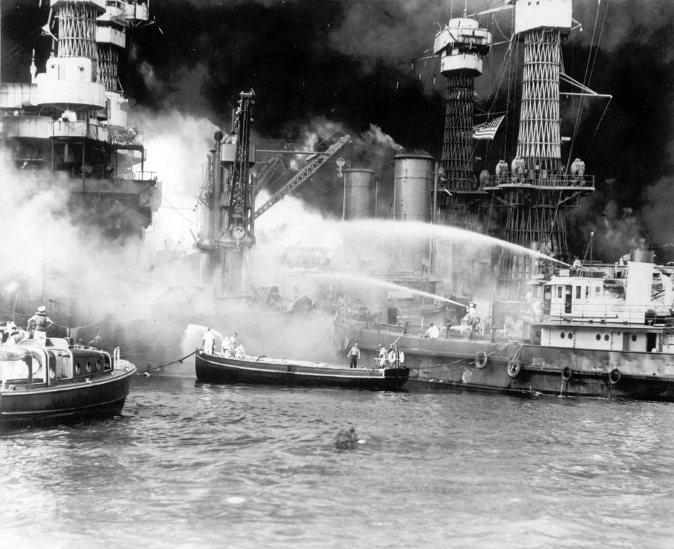 . The battleship USS West Virginia is seen afire after the Japanese surprise attack on Pearl Harbor, Hawaii, on December 7, 1941. (AP Photo)