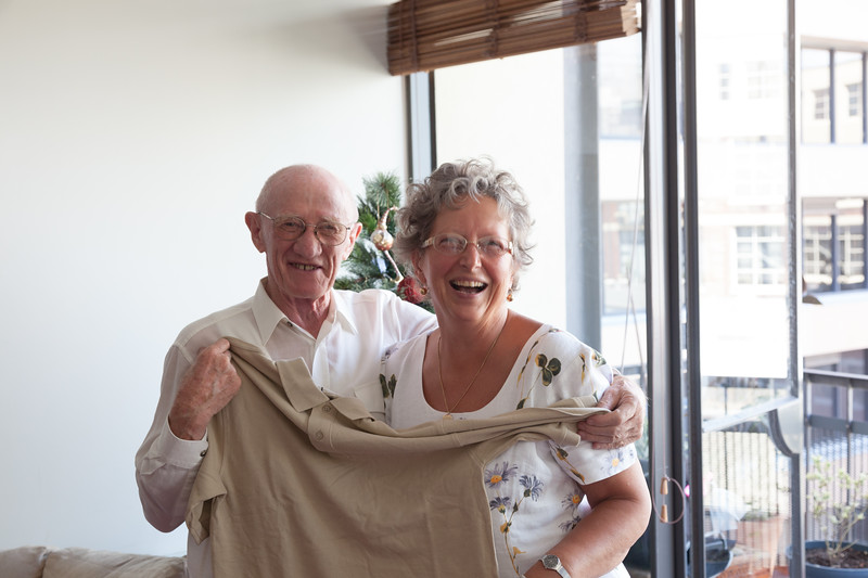 Colin Holmes and Monika Adami. Christmas 2009, Flinders Lane, Melbourne.