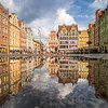 Row Houses Reflected in the Square, Wrocław, Poland