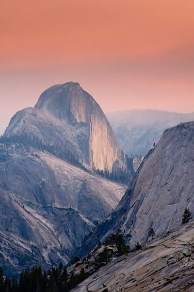 Back Half  Yosemite's Half Dome from Olmstead Point looking down Tenaya Canyon.  Controlled burns in Yosemite created smokey skies.
