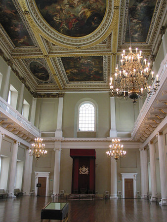 Inside the Banqueting House, London.