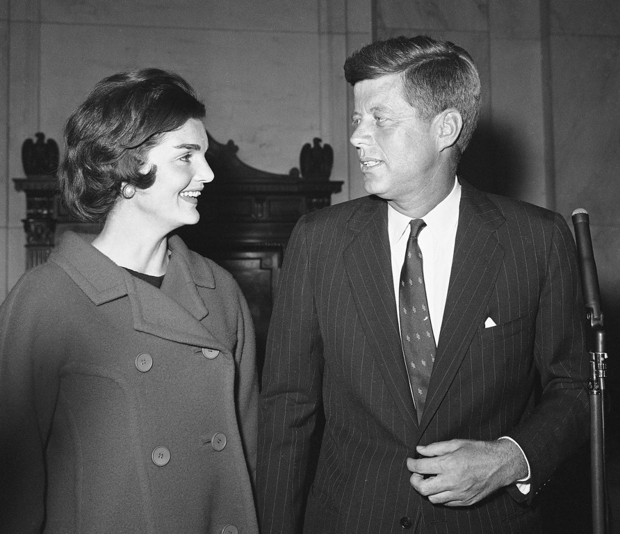 . Sen. Kennedy and wife Jacqueline just after a Jan. 2, 1960, conference announcing his candidacy for the Democratic presidential nomination. Associated Press file