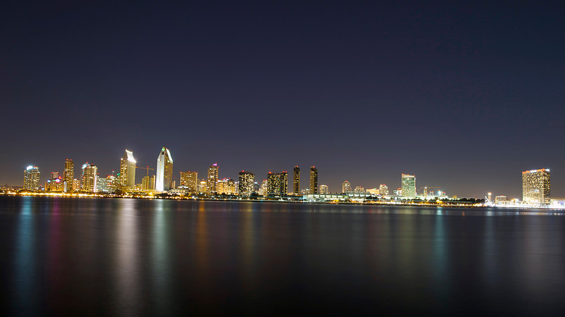 I went to take nighttime photos with my friend Armand tonight.  It's no secret that the San Diego skyline is among the most beautiful in the world so it was great to find  a spot in Coronado where we could capture it in all its beauty.  It was a cloudless night which I think makes for the best atmosphere to take skyline photos.  It was another beautiful night in San Diego - America's finest city.