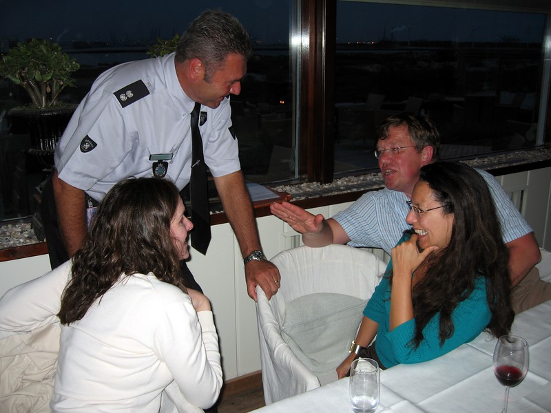 Kara chats with new Dutch friends at Restaurant Sand in Hoek van Holland