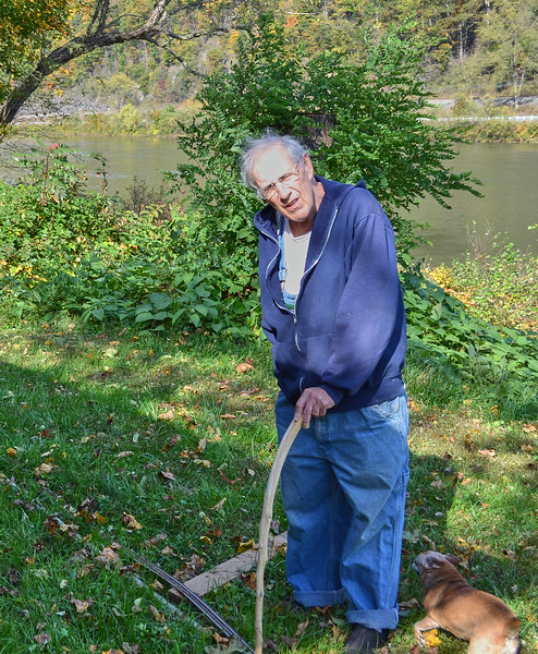 Larry Lebin with walking stick. Oct 16 2011