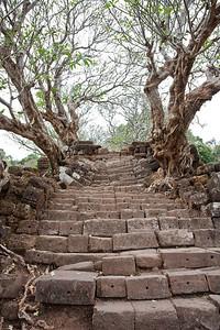 Ancient steps in the Pre-Angkoran ruins of Wat Phu Champasack. Laos.