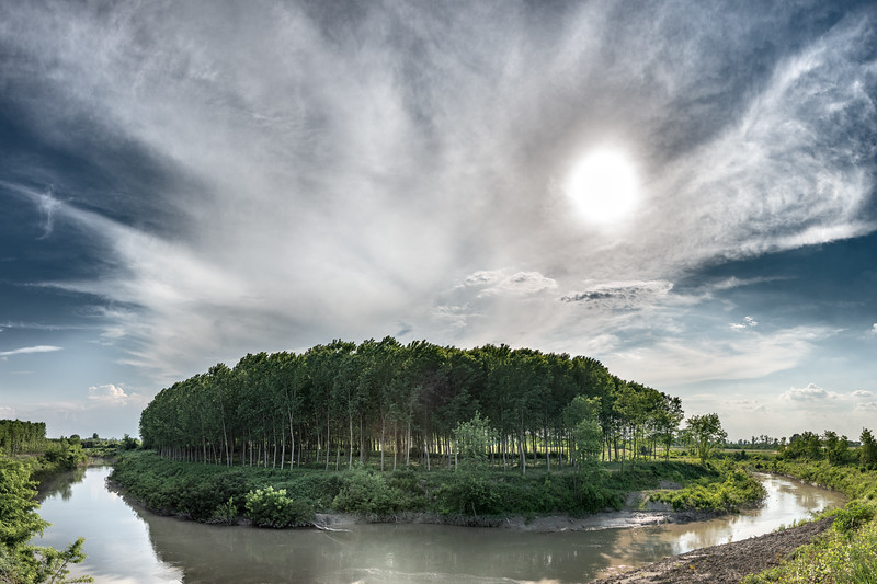 Secchia River Bend - San Benedetto Po, Mantova, Italy - May 20, 2018