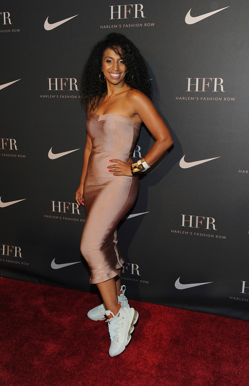 . Dancer and choreographer Chloe Arnold models the new signature LeBron James shoe, HFR x LeBron 16, at the Harlem Fashion Row fashion show and awards ceremony before the start of New York Fashion Week, Tuesday, Sept. 4, 2018. (AP Photo/Diane Bondareff)