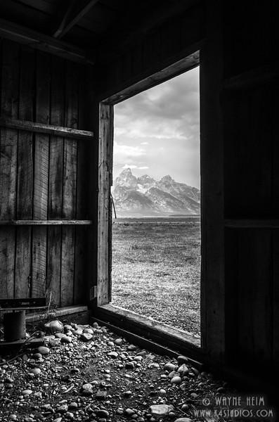 Tetons Peek - Black & White Photography by Wayne Heim