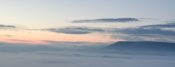 Panorama; mist below Pendle, gently moving over the Ribble Valley