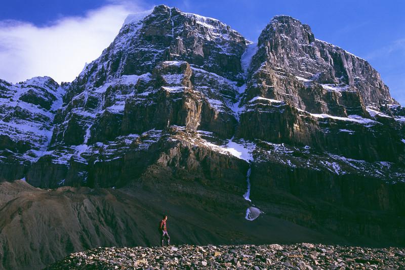 Hiker on Stutfield glacier, Jasper national park