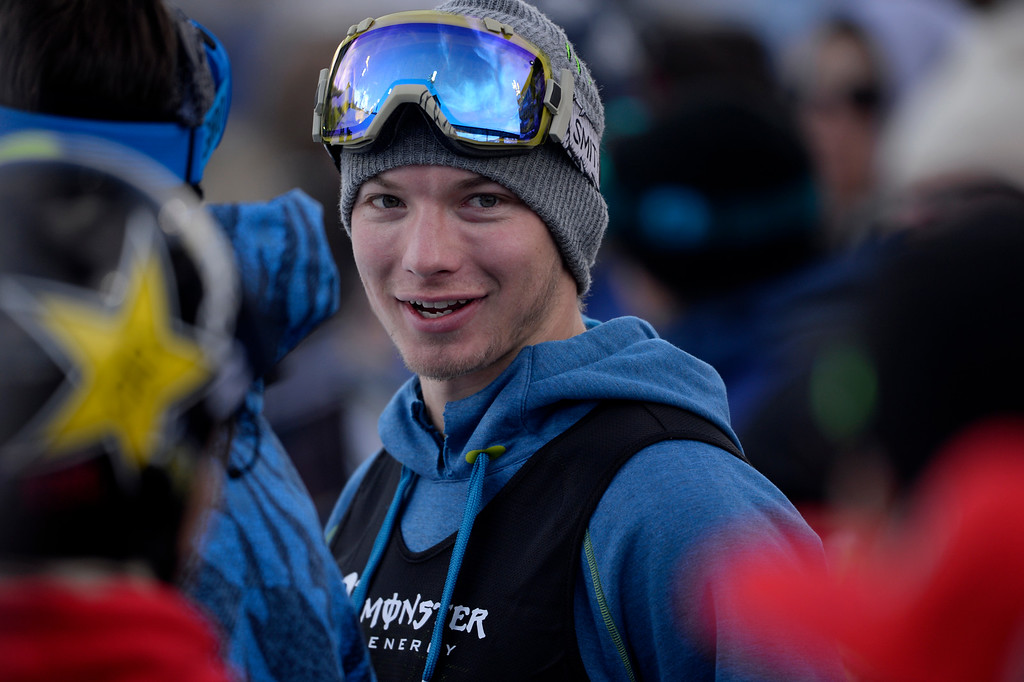. ASPEN, CO - JANUARY 25: David Wise reacts to being bumped from the podium during the men\'s ski half pipe final. Winter X Games on Sunday, January 25, 2015. (Photo by AAron Ontiveroz/The Denver Post)