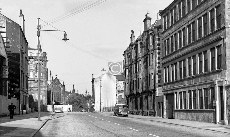 Cathedral St. east of Weaver St.   The St Mungo engraving works on the right..  July 1973