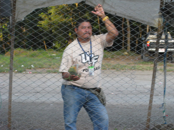 "This is one of the ""Money Changer"" hawkers at the border.  Now on the Costa Rica side they have them BEHIND a chain link fence so YOU have to go over to them if YOU CHOOSE to change money from them."