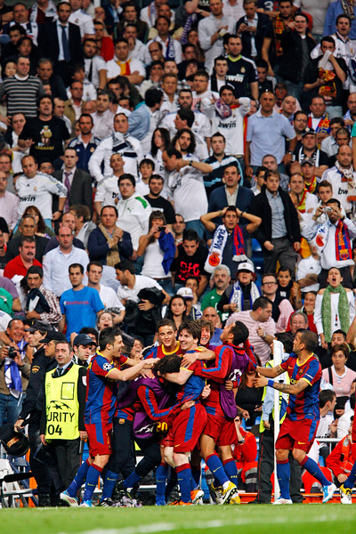 FC Barcelona players celebrating the second goal by Messi, UEFA Champions League Semifinals game between Real Madrid and FC Barcelona, Bernabeu Stadiumn, Madrid, Spain