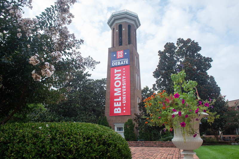 Bell Tower with debate sign